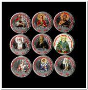 """""""Святые христианской церкви"""" Коллекционный набор 1 рубль с цветной эмалью без альбома"""