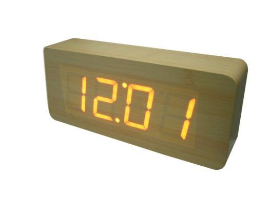 Часы эл. VST865-1 + радио крас.цифры (СВЕТЛО-коричневый) ***