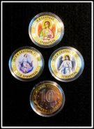 """10 рублей цветная эмаль + фотогравировка """"Ангел хранитель. Спаси и Сохрани, Господи"""" 3шт"""