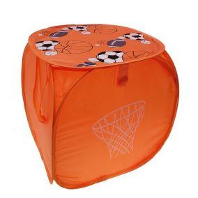 """Корзина для игрушек малая """"Баскетбол"""" с ручками и крышкой 45*45 см"""