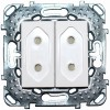 Розетка Unica двойная без заземления со шторками (винтовой зажим) белая