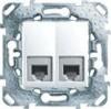 Розетка телеф. Unica 2хRJ11 (4 контакта) белая