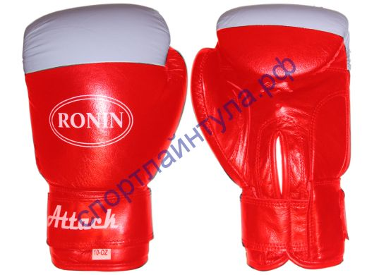 Боксерские перчатки Y716 RONIN ATTACK натуральная кожа, красно-белые