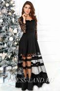 Черное платье в пол с прозрачной юбкой
