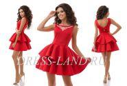 Красное платье с пышной юбкой из неопрена