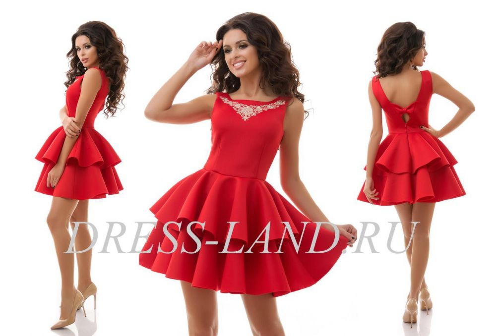 3f857fc34ed Красное платье с пышной юбкой из неопрена