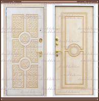 """Входная металлическая дверь """"Версаче"""" Vinorit Белый ясень с золотой патиной :"""
