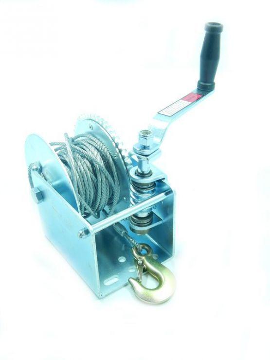 Лебедка ручная барабанная стационарная червячная 1300кг (стальной трос 5мм*10м, 1 крюк)