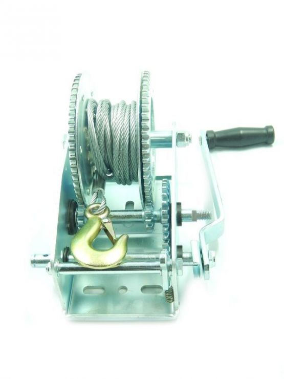 Лебедка ручная барабанная стационарная 2-х скоростная 1454кг (стальной трос 6мм*9м, 1 крюк)