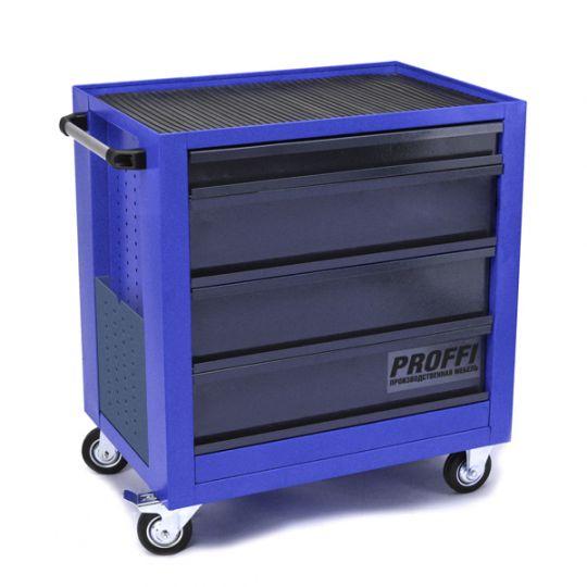 Тележка Верстакофф PROFFI 795.4  Размеры (ШхВхГ)  700 х 785 х 490 мм  4 выдвижных ящика  : Средний ящик  – 3 шт. Малый ящик  – 1 шт