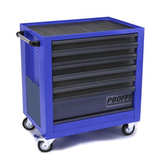 Тележка Верстакофф PROFFI 795.6  Размеры (ШхВхГ)  700 х 785 х 490 мм  6 выдвижных ящиков: Средний ящик  – 1 шт. Малый ящик  – 5 шт.