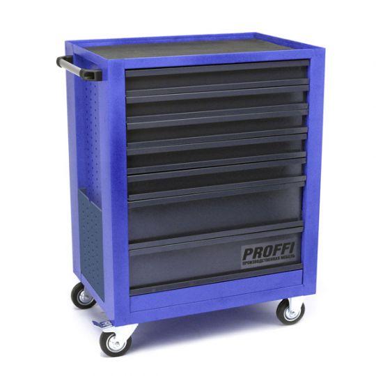 Тележка Верстакофф PROFFI 950.7  Размеры (ШхВхГ)  700 х 940 х 490 мм  7 выдвижных ящиков: Средний ящик  – 2 шт. Малый ящик  – 5 шт.
