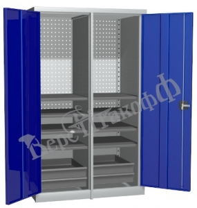 Металлический инструментальный шкаф PROFFI с перегородкой, 8 полок+4 ящика.