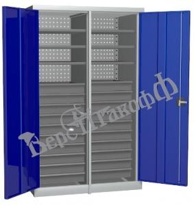 Металлический инструментальный шкаф PROFFI с перегородкой, 6 полок+20 ящиков.
