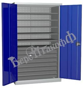 Металлический инструментальный шкаф PROFFI (без перегородки), 6 полок+7 ящиков.