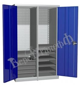 Металлический инструментальный шкаф PROFFI с перегородкой, 6 полок+4 ящика.
