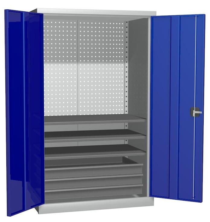 Металлический инструментальный шкаф PROFFI (без перегородки), 3 полки+3 ящика.
