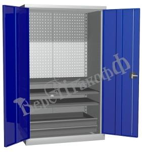 Металлический инструментальный шкаф PROFFI (без перегородки), 3 полки+2 ящика.