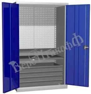 Металлический инструментальный шкаф PROFFI (без перегородки), 2 полки+4 ящика.