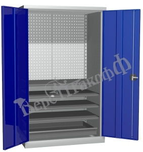 Металлический инструментальный шкаф PROFFI (без перегородки), 4 полки+1 ящик.
