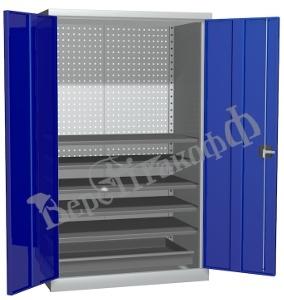 Металлический инструментальный шкаф PROFFI (без перегородки), 5 полок+1 ящик.
