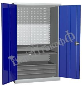 Металлический инструментальный шкаф PROFFI (без перегородки), 2 полки+3 ящика.