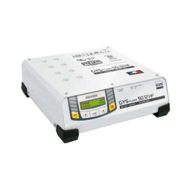 GYSFLASH 50.12 HF Зарядное устройство для аккумуляторов 12 В, ток зарядки 50 А, мощность 1500 Вт. Инверторное зарядное устройство, поддержка аккумулятора автомобиля находящегося в фазе диагностики. Идеальное качество зарядки при обслуживании самых совреме