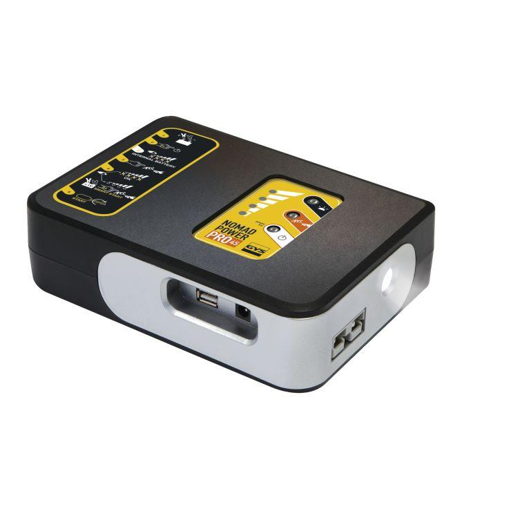 NOMAD POWER PRO 45 Переносной компактный бустер на основе литиевой батареи. Может использоваться для пуска легковых автомобилей и внедорожников, мотоциклов и лодок, а также как дополнительное зарядное устройство для смартфонов, ноутбуков и т.п. Снабжен ла