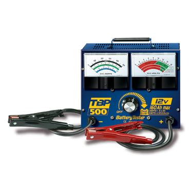 TBP 500 6/12 В, от 10 до160 А/ч. Тестер для аккумуляторов, диагностика мощности, степени зарядки, указывает состояние аккумулятора (хорошее - плохое).   Проверяет напряжение генератора переменного тока. Выявляет   наличие проблемы в цепи зарядки автомобил