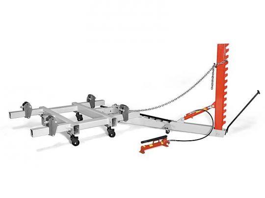 Рихтовочный стапель рамного типа грузоподъёмностью 2 т, с одним подкатным силовым устройством векторного типа с max усилием 10 т.