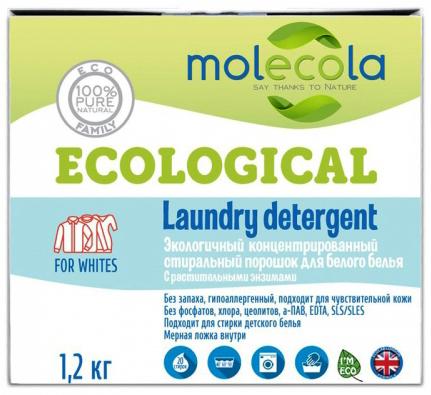 Molecola Стиральный порошок для белого белья с растительными энзимами 1,2 кг