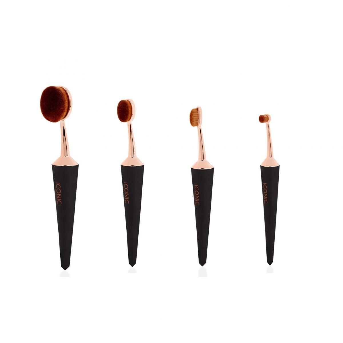 Набор кистей для макияжа ICONIC LONDON Black (4 шт)