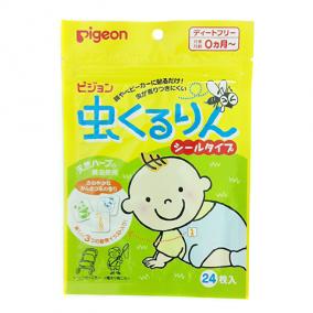 Пластырь для защиты от укусов насекомых Pigeon с экстрактом масла эвкалипта и цитронеллы. Для детей с рождения, мягкая упаковка, 24 шт.