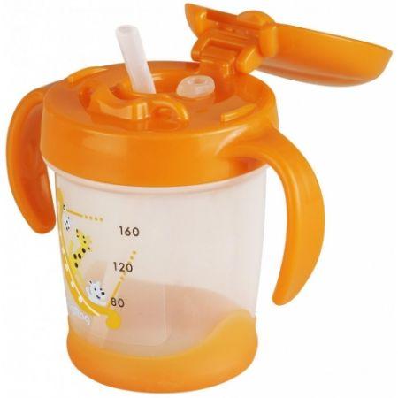 PIGEON Поильник № 4 MagMag с силиконовой трубочкой. Для обучения навыкам питья через трубочку. 8+ мес.. 200мл