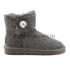 Classic Mini Bling Constellation Grey - Угги Мини со стразой Сваровски Constellation Серые