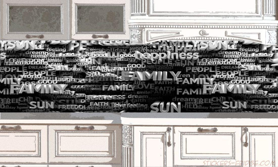Наклейка на фартук - 3Д Текст