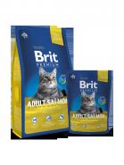 BRIT Premium Adult Salmon Нежный лосось в соусе для взрослых кошек (1,5 кг)
