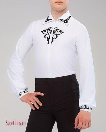 Рубашка для бальных танцев с черным орнаментом