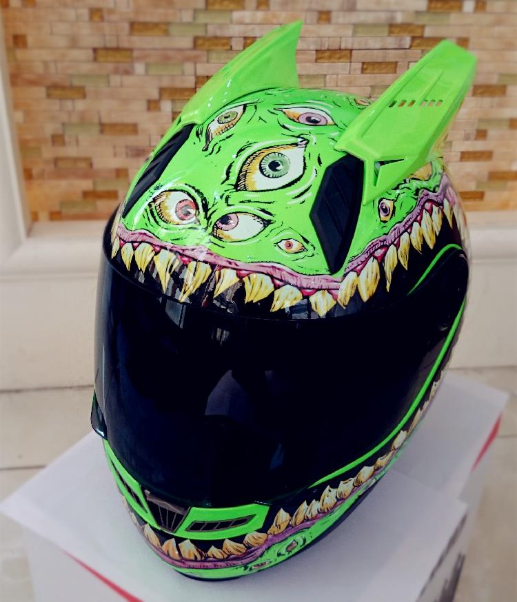 Мотошлем Marushin c ушами (интеграл) Luminous Eyes Green