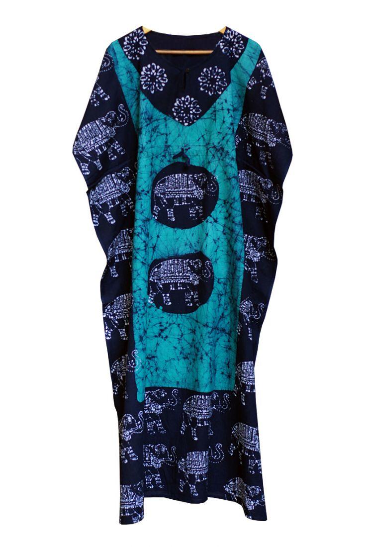 Безразмерное платье сине-голубого цвета из индийского хлопка (Москва)