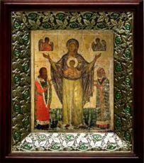 Мирожская икона БМ (21х24), киот со стразами