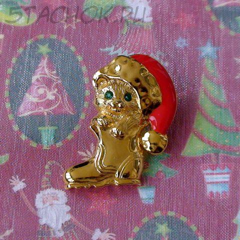 """Брошь """"Новогодний котейка"""" под золото, эмаль, стразы"""
