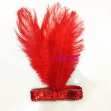 Украшение на голову из перьев павлина Красное