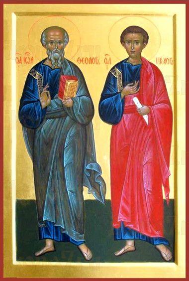 Иоанн Богослов и Прохор (рукописная икона)