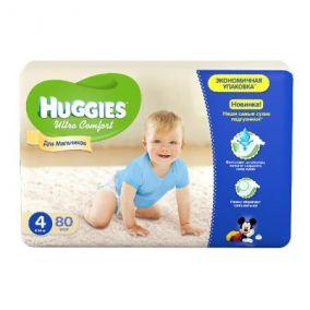 Подгузники Huggies Ultra Comfort для мальчиков 4 (8-14 кг) 80 шт.