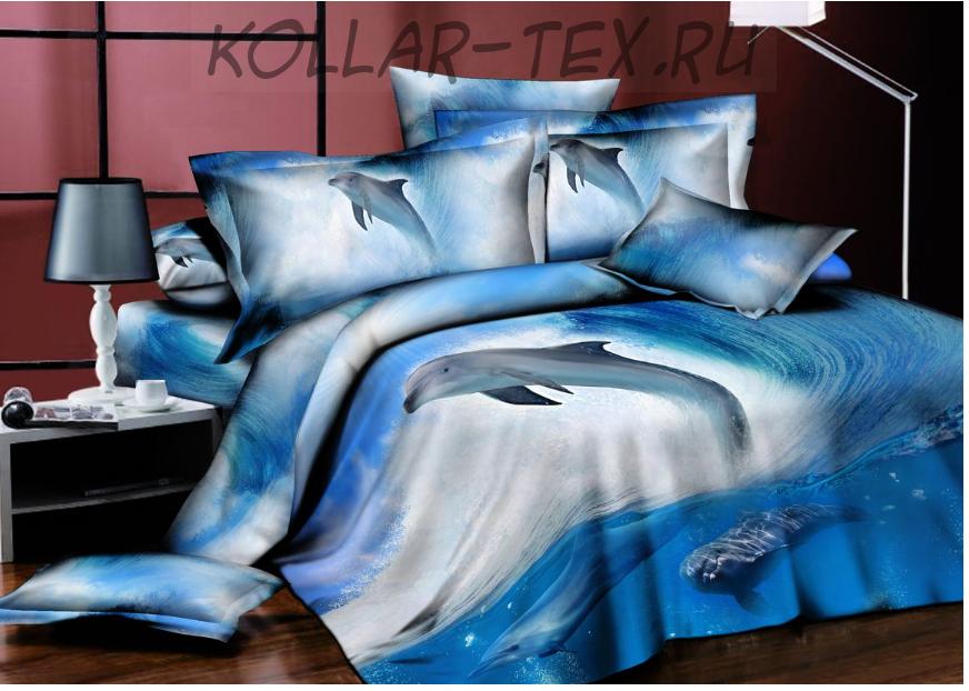 Постельное белье из сатина  Дельфины 3D, ТМ NeSaDen