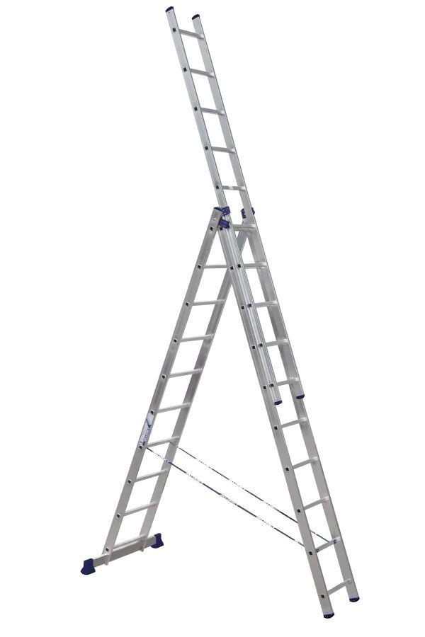 Лестница - стремянка  3-х секц. 3*10 (3х2,82 /6,46 /4,76 м 14,3 кг) алюминиевая