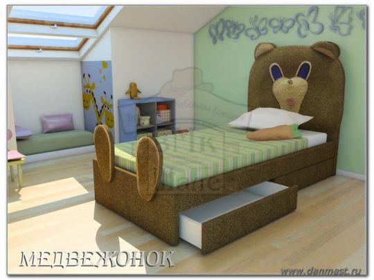 Кровать Медвежонок мягкая