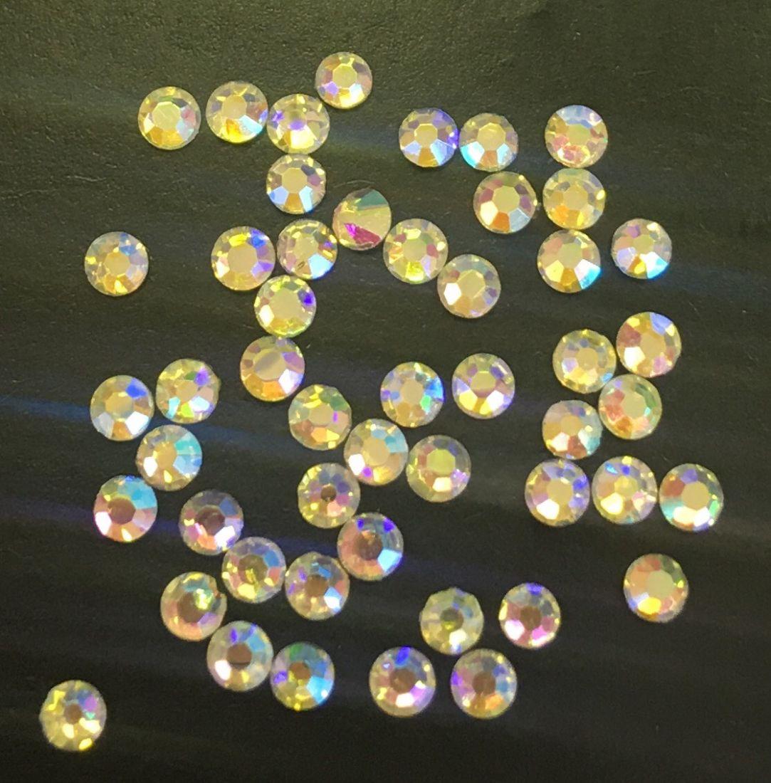 Стразы SS6  стекло плоские (Jonquil AB) светло-желтые голография уп/50шт