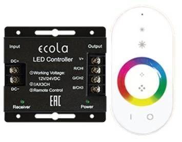 Ecola Контроллер 12V 288W 24A RGB с кольцевым сенсорным белым радиопультом RFC24WESB